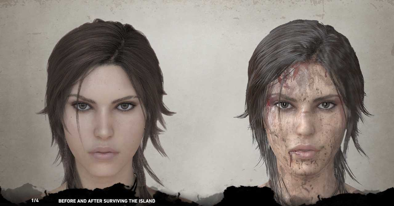 Lara before and after surviving the island: intact Lara on the left, dirty, scarred and bleeding Lara on the right