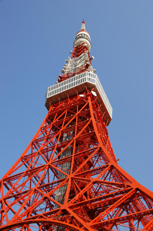 Photo of the Tokyo Tower, a 332 meter lattice tower in Tokyo, Japan.
